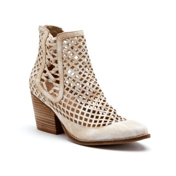 Women's Perforated Heeled Bootie