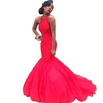 Sexy Red Long Mermaid Prom Dresses 2016 Keyhole Back Dubai Women African Evening Gowns Halter Beaded Vintage Formal Party Dress
