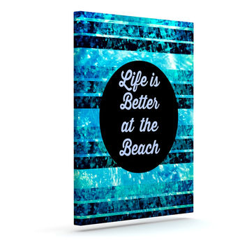 "Ebi Emporium ""Life is Better at the Beach"" Blue Aqua Canvas Art"