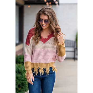 Sugar And Snuggles Distressed Sweater : Rose Multi