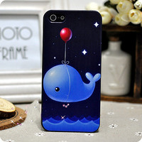 Galaxy Star Whale Balloon  Hard Cover Case For Iphone 4/4s/5