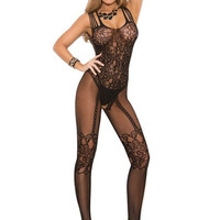 Women New Sexy Lingerie Much-loved Floral Motif Mesh Body Stockings Free Size (Color: Black) = 1932349956