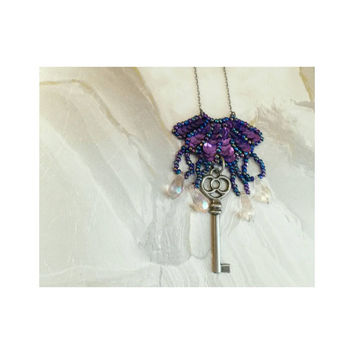 Upcycled Vintage purple sequin necklace with skeleton key