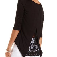 Embroidered Flyaway High-Low Top by Charlotte Russe