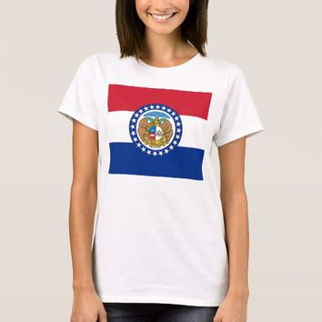 Women T Shirt with Flag of Missouri State