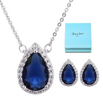 Bridesmaid Jewelry Set for Wedding - Sterling Silver Teardrop Cubic Zirconia Halo Earrings and Pendant Necklace Jewelry Set for Women