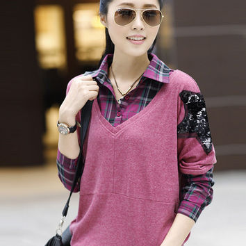 Plaid Long Sleeve V-Neck Star Patchwork Top