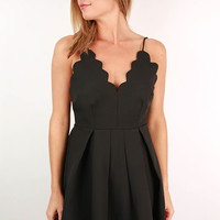 Seaside Love Scalloped Spaghetti Strap Dress in Black