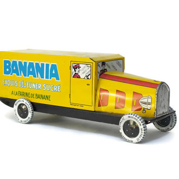 Vintage Banania Advertising Tin Toy Truck. French Publicity Collectible.