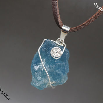 Wire Wrapped Rough Fluorite Necklace