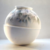 White sphere bud vase made from fine bone china with vintage flowers illustrations  - geometric decor -illustrated ceramics