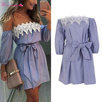 WEIXINBUY 2017 Summer Boho Women Sexy Lace Off Shoulder Bowknot Dress Bodycon Party Evening Beach Short Dresses with Belt