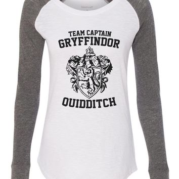 "Womens ""Team Captain Gryffindor Ouidditch"" Long Sleeve Elbow Patch Contrast Shirt"