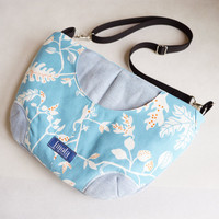 SALE Blue nature leaf pattern purse crossbody bag concealed carry purse messenger bag canvas bag shoulder bag hobo bag blue white purse OOAK