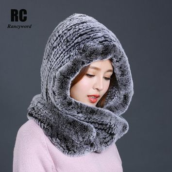 [Rancyword] Hat Women New Knitted Real Rex Rabbit Fur Hat Hooded Scarf Winter Warm Natural Fur Hat With Neck Scarves RC1319