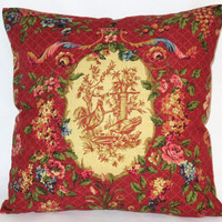 """Waverly Red Chicken Pillow In Saison de Printemps Rouge Rooster Toile, Reversible Gingham Check, 18"""" Square, Cover Only or Insert  Included"""