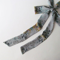 Grey Floral Skinny Scarf, Gray Chiffon Neck Tie, Long Thin Scarf with Angled Ends, Bow Tie Scarf, Choker Scarf, Fashion Accessories, For Her