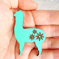 Summer Love Alpaca Brooch - Hand Painted Wooden Laser Cut - Mint Turquoise