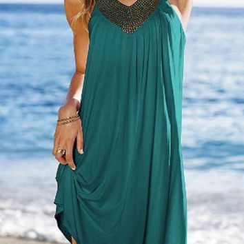 Streetstyle  Casual Green Plain Pleated Sequin Outdoors Mini Dress