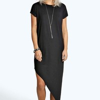 Maya Asymmetric T-Shirt Midi Dress | Boohoo
