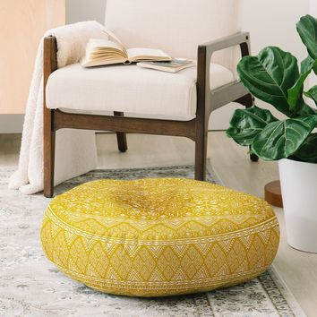 Heather Dutton Grand Bazaar Goldenrod Floor Pillow Round