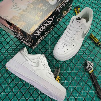 Nike Air Force 1 07 Af1 Low White Silver Fashion Shoes - Best Online Sale
