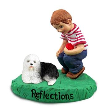 OLD ENGLISH SHEEPDOG REFLECTIONS W/BOY FIGURINE