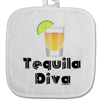 Tequila Diva - Cinco de Mayo Design White Fabric Pot Holder Hot Pad by TooLoud
