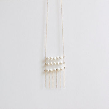 A e l ï a - Layered bead necklace - Tiny cube beads - Porcelain beads & gold-filled -  Eleïa Collection