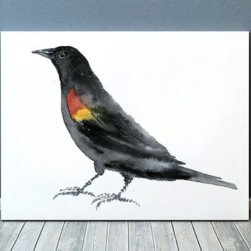 Red winged blackbird print Cute nursery art Bird watercolor ACW135