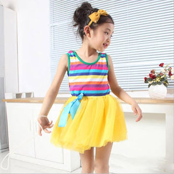Baby Girls Puffy Dress Dancing Clothes Princess Tutu Rainbow Striped Dresses Kids Clothing SM6