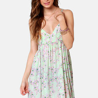 O'Neill Creek Mint Floral Print Dress