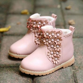 DCCKIX3 Winter Toddler Baby Boot Korean Flower Thicken Girl Pirncess Snow Boots Good Quality Pu Leather Small Kids Martin Shoes GR132 = 1946195716