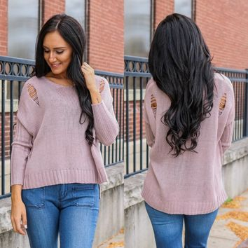 ROLLING HILLS SWEATER - BLUSH