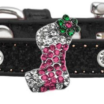 Holiday Charm Dog Collar Black Ice Cream Size 10 Pink Stocking