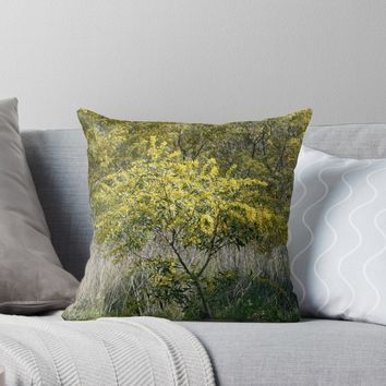 'Flowering Acacia Tree' Throw Pillow by Anna Lemos