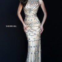 Gorgeous Jeweled Nude Sherri Hill Prom Dress SH-50239