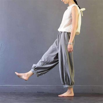 Summer Harem Pants Casual Linen Color Elastic Waist Calf-Length Pant Loose Bloomers Trousers For Women S380