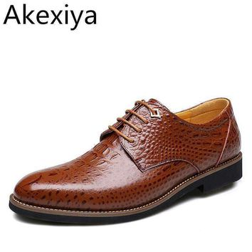 Akexiya 2017 New Leather Men Dress Shoes, New Crocodile Style Oxford Shoes For Men, Casual Men Oxford