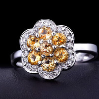 7pcs Natural Citrine flower shape round cut 925 sterling silver ring