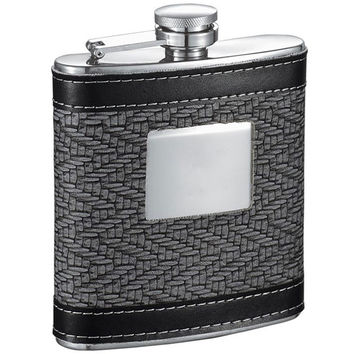 Visol Helix Grey and Black Leather 6oz Hip Flask