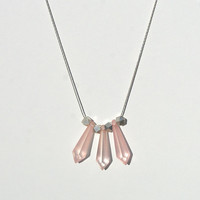 LUCY in the Sky necklace // pink lucite beads, sterling silver chain, silver nuggets