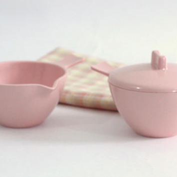 Retro Pink Melmac Cream & Sugar Bowls | Vintage Melamine | Mad Men Style | Hard Plastic Cream and Sugar | MCM Mid Century Kitchen