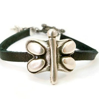 Black and Silver Leather Bracelet, Silver Dragonfly, Black Leather, Gift for Her, Leather Bracelet