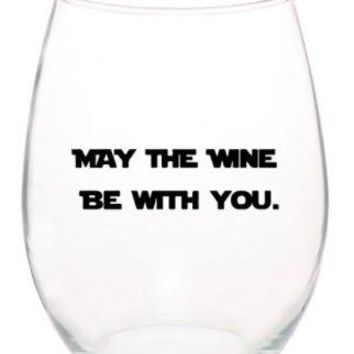 May The Wine Be With You Star Wars Funny Unique Stemless 15 oz Wine Glass ~Dishwasher Safe~ MADE IN USA