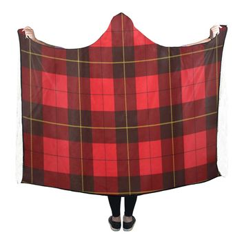 Wallace Tartan Scottish Plaid Hooded Blanket 80x53 Inch