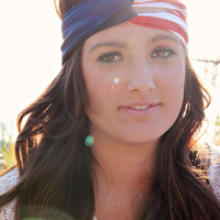 American Flag Style Urban Turban, Fourth of July Festive, Turband, Bohemian style America Headband