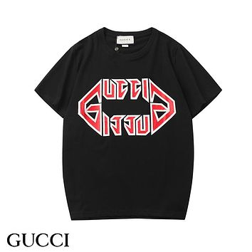 GUCCI 2019 early spring new tide brand letter logo printing couple models round neck short-sleeved T-shirt black