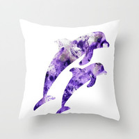 Throw pillow cover, Colorful decorative pillow, colorful dolphins pillow, purple pillow, dolphin pillow, dolphins pillow, home decoration