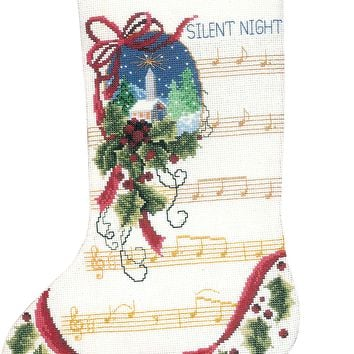 """Silent Night Stocking Counted Cross Stitch Kit 10.5""""X15"""" 14 Count"""